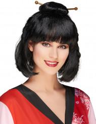 Geisha Chinesin Pagenkopf Perücke mit Stäbchen schwarz-rot