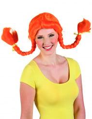 Gebogene Zopfperücke für Damen orange