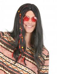Hippie-Perücke 60er-Jahre-Langhaarfrisur mit Haarschmuck schwarz-bunt