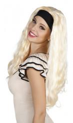 Lange Locken-Perücke mit Stirnband blond-schwarz