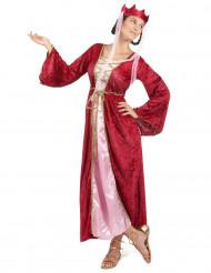 Mittelalter Königin Damen-Kostüm rot-rosa-gold