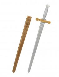 Mittelalter Ritter-Schwert mit Scheide grau-gold 80cm