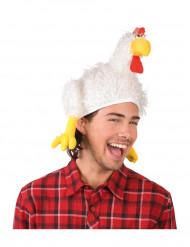 Lustiger Hühner-Hut Scherz-Mütze weiss-gelb-rot