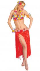Hawaii Damenkostüm Set Deluxe rot-bunt