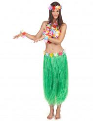 Hawaii Damenkostüm Set Deluxe grün-bunt