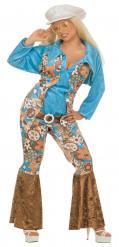 Hippie Damenkostüm 60er XL bunt