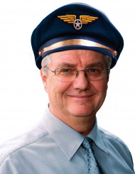 Piloten-Mütze Kapitän schwarz-blau-gold