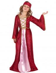 Königin Mädchenkostüm Mittelalter rot-rosa-gold