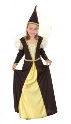Mittelalter-Kostüm für Mädchen, schwarz-golden