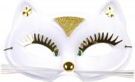 Halbmaske mit Katzenmotiv für Damen und Herren in drei Farben