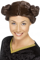 Prinzessin Perücke mit Haarknoten braun
