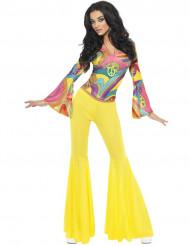 70er Disco Damen-Kostüm gelb-bunt