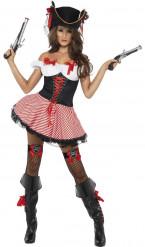 Piratin Damenkostüm mit Schleifen rot-schwarz