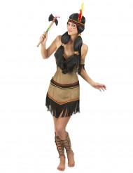 Indianerinnenkostüm Squaw-Verkleidung mit Fransen beige-schwarz-rot