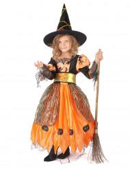 Niedliches Hexenkostüm Halloween-Mädchenkostüm orange-schwarz