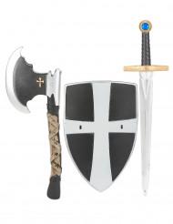 Ritter Kinder Kostüm Set Schwert Schild schwarz-silber