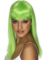 Karnevals-Perücke glatt mit Pony grün
