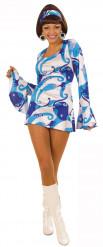 70er Minikleid Damenkostüm Disco blau-weiss