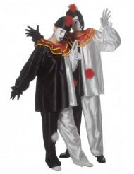 Harlekin Kostüm Pierrot schwarz-weiss-rot