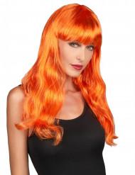 Damen Perücke lang mit Pony Orange