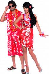 Paar-Kostüm für Erwachsene - Aloha auf Hawaii - rot/weiß