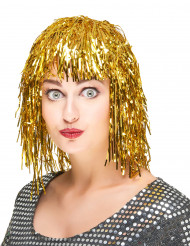 Folien-Perücke Lametta-Damenperücke gold