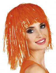 Folien-Perücke Lametta-Damenperücke orange