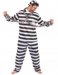 Sträfling Gefangener Kostüm schwarz-weiss