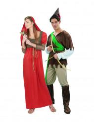 Mittelalterliches Paarkostüm für Erwachsene rot-braun