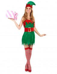 Weihnachtswichtel Damenkostüm rot-grün