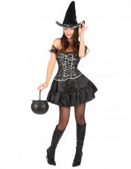 Sexy Hexe Halloween Kostüm schwarz-silber