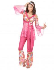 Hippie-Damenkostüm 60er-Kostüm pink-bunt