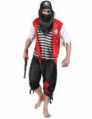 Pirat Seeräuber Herrenkostüm schwarz-rot-weiss