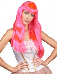 Glatte Langhaar-Perücke mit Pony glänzend pink
