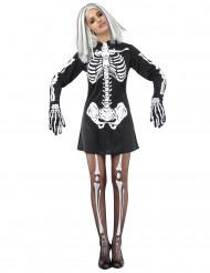 Halloween Skelettkostüm Damen schwarz-weiss