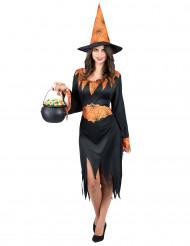 Spinnen Hexe Halloween Damenkostüm schwarz-orange