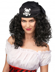 Piratin-Damenperücke mit Kopftuch schwarz-weiss
