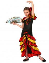 Flamenco-Tänzerin Mädchenkostüm schwarz-rot-gelb