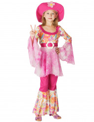 60er Hippie Kinderkostüm Flower Power pink-bunt