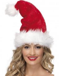Weihnachtsmütze mit Bommel Weihnachten rot-weiss