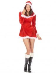 Sexy Weihnachtsfrau Damenkostüm weiss-rot