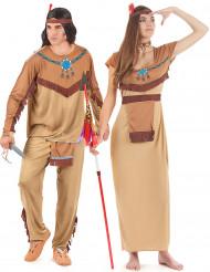 Indianer Erwachsenenkostüm für Paare braun