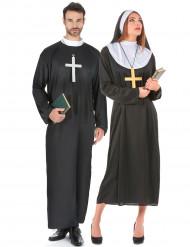 Nonne und Priester - Paarkostüm für Erwachsene, schwarz