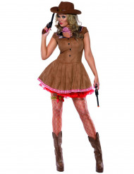 Cowgirl Damenkostüm Western braun-rot