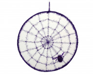 Spinnennetz mit Spinne Halloweendeko lila