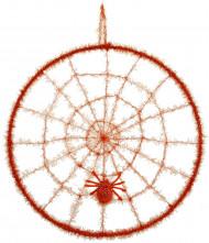 Spinnennetz mit Spinne Halloweendeko orange
