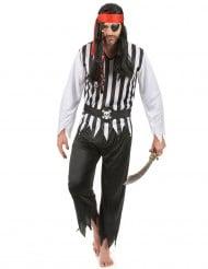 Pirat Kostüm Totenkopf schwarz-weiss