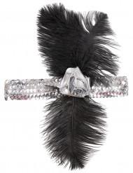 20er Charleston Stirnband mit Feder und Rose silber-schwarz