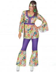 70er Hippiekostüm für Damen lila-bunt