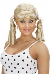 Damenperücke mit Korkenzieherlocken blond